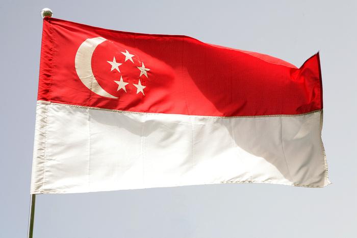 drapeau rouge et blanc avec etoile et lune